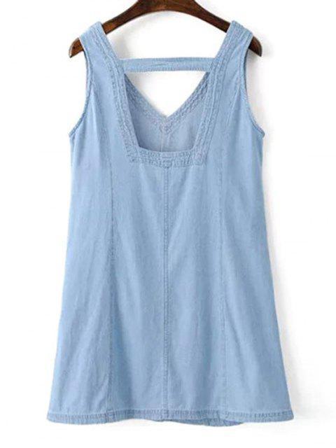 online V-Neck A-Line Tank Dress - BLUE M Mobile