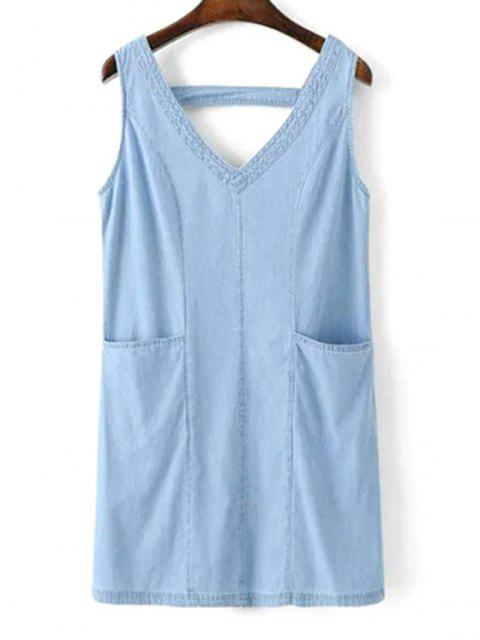 best V-Neck A-Line Tank Dress - BLUE S Mobile