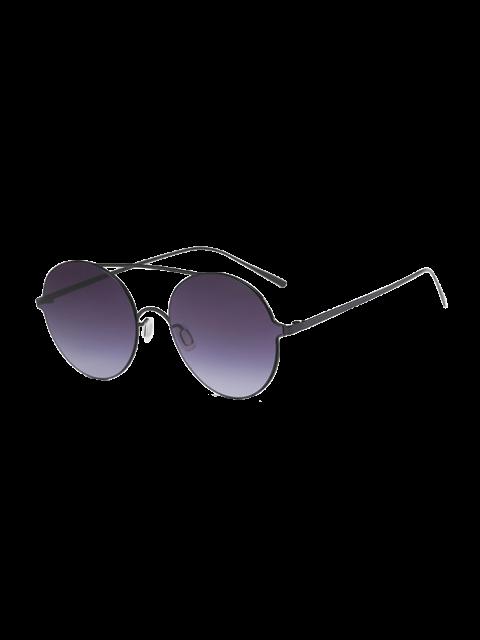fashion Crossbar Metal Round Sunglasses -   Mobile