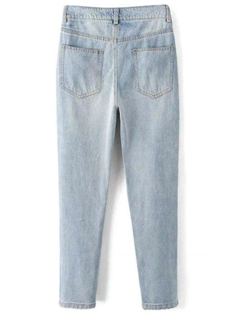 new Bleach Wash Ripped Jeans - LIGHT BLUE M Mobile