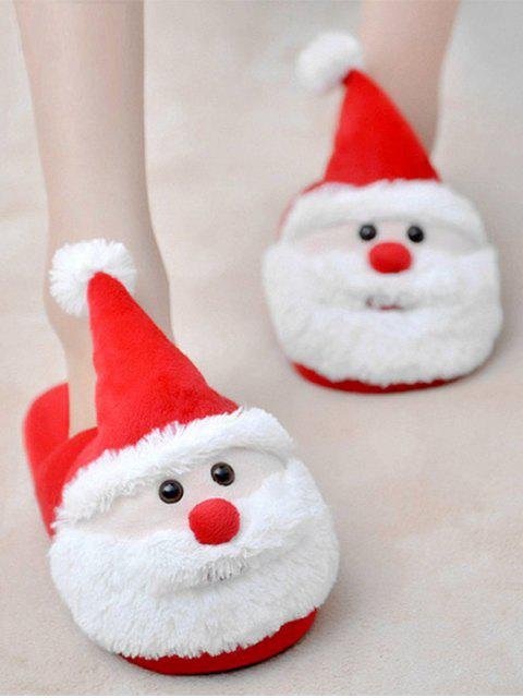 sale Christmas Flock Color Block Slippers - RED SIZE(39-40) Mobile