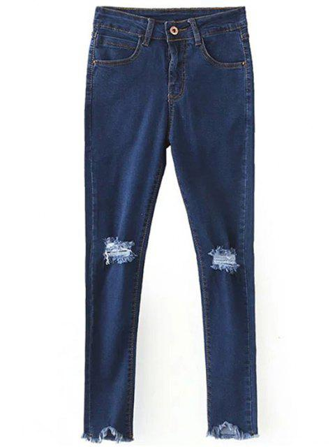 affordable Slimming Ripped Solid Color Jeans - DEEP BLUE L Mobile