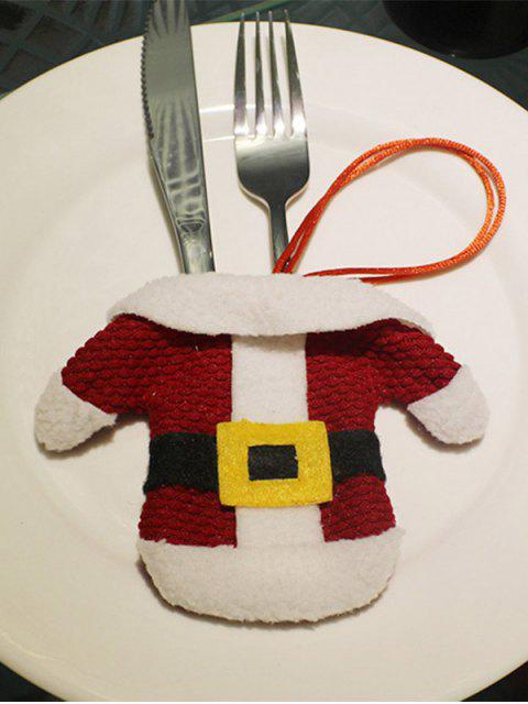 women's Christmas Santa Clothes Shape Tableware Holder Bag - RED WITH WHITE  Mobile