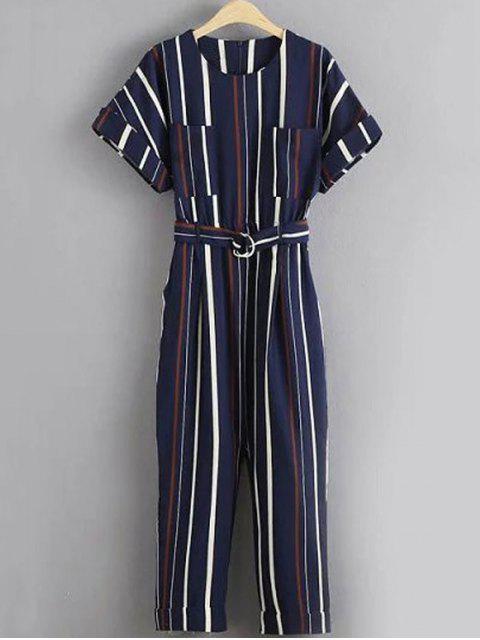 women Stripe Round Neck Short Sleeve Jumpsuit - STRIPE L Mobile