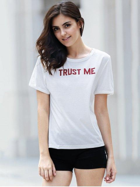 hot Letter Print White T-Shirt - WHITE L Mobile