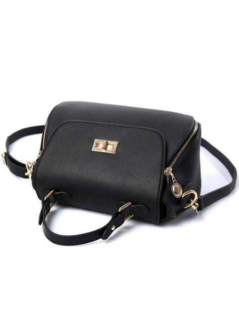 hot Hasp Solid Color PU Leather Tote Bag -   Mobile