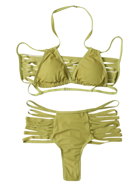 buy High Leg Strappy Cutout Bikini Set - GREEN XL Mobile
