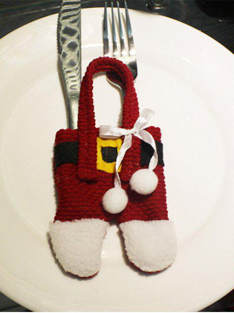 ladies Christmas Santa Pants Shape Tableware Holder Bag - RED WITH WHITE  Mobile