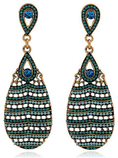 shops Beaded Water Drop Pendant Earrings - EMERALD  Mobile