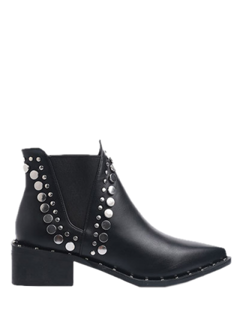 shops Punk Metal Pointed Toe Ankle Boots - BLACK 40 Mobile
