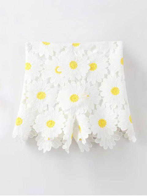women Sunflowers Lace High Waist Shorts - WHITE L Mobile