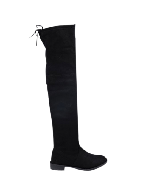 chic Suede Flat Heel Thigh High Boots - BLACK 37 Mobile
