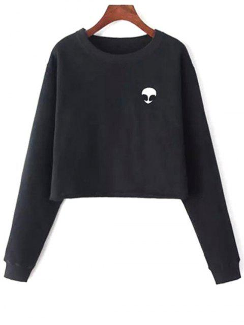 Sweat-shirt Court Brodé Extraterrestre - Noir Taille Unique(S'adap Mobile