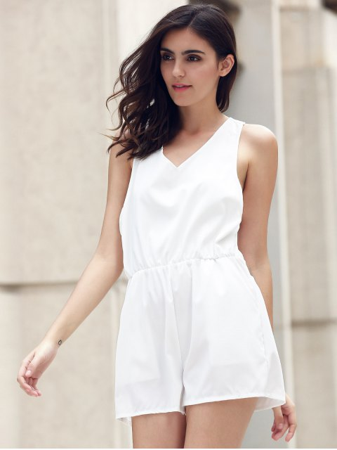 latest Lace Spliced V-Neck Cut Out Romper - WHITE XL Mobile