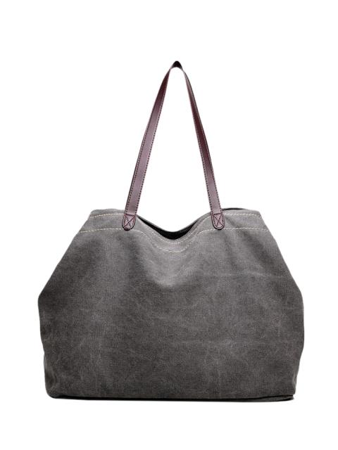 buy Canvas Stitching Shoulder Bag - GRAY  Mobile