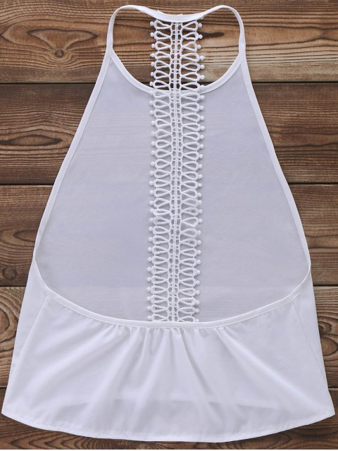 best Backless Solid Color Tank Top - WHITE L Mobile