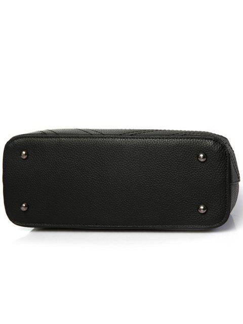 chic Pendant Stitching PU Leather Tote Bag - PURPLISH RED  Mobile