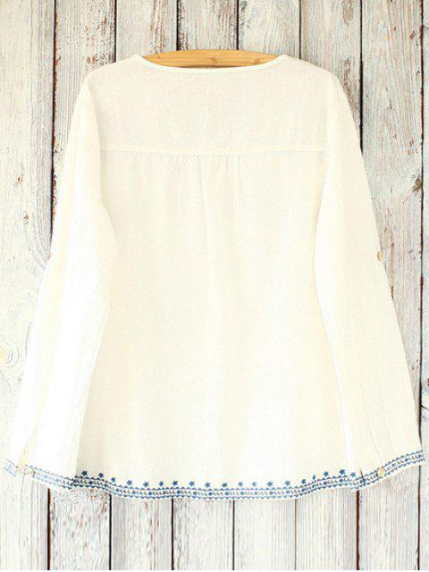 chic Loose Retro Embroidered Round Neck Long Sleeve Blouse - WHITE ONE SIZE(FIT SIZE XS TO M) Mobile