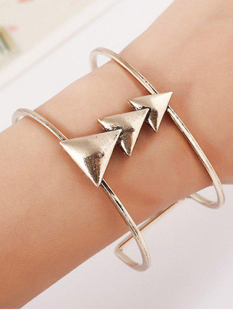 fancy Triangle Two Layered Cuff Bracelet -   Mobile
