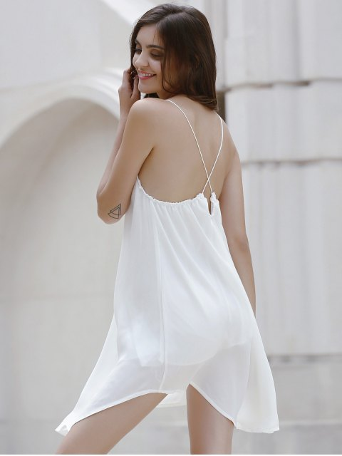 Backless Solid Color bretelles spaghetti robe - Blanc Cassé S Mobile
