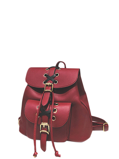 Zaful Buckles Eyelet Criss-Cross PU Leather Backpack - Red