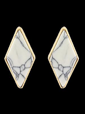 Artificial Turquoise Geometric Earrings - White