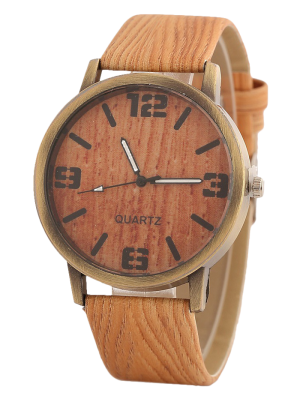 Montre Motif De Bois - Orange