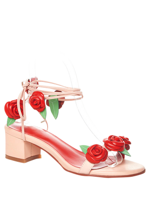 Rose Lace-Up Chunky Heel Sandals - Pink 38