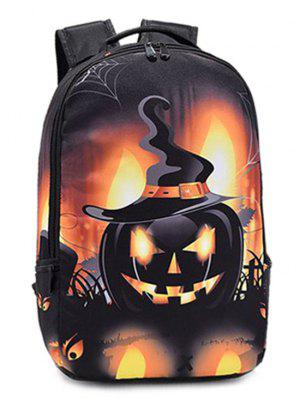 Estampada  De Calabaza De Halloween Color Empalmado Mochila  - Amarillo Y Negro