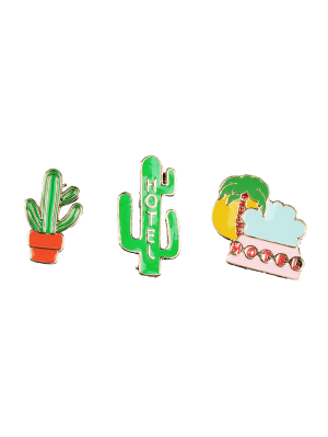 Cactus Hotel Coconut Tree Broche de