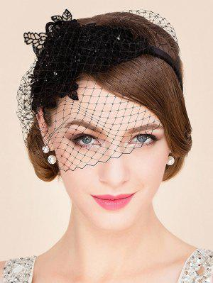 Black Lace Veil Cocktails Headband Hat - Black