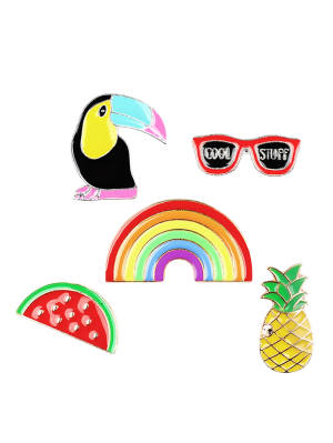 Rainbow Pineapple Watermelon Glasses Brooch Set
