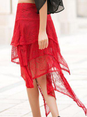 Falda De Encaje Color Sólido Asimétrica - Rojo M