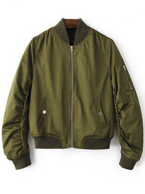 Zippered Sleeve Bomber Jacket - Army Green L