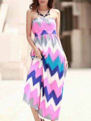Zig Zag Strapless Print Maxi Dress - Pink Xl
