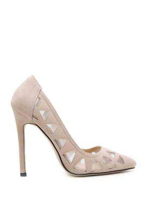 Hollow Out Geometric Pointed Toe Pumps - Apricot 39