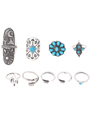 Tribe Style Embossed Rings - Silver