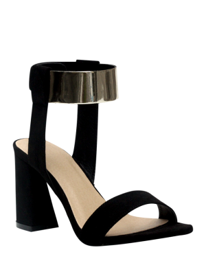Black Flock Chunky Heel Sandals