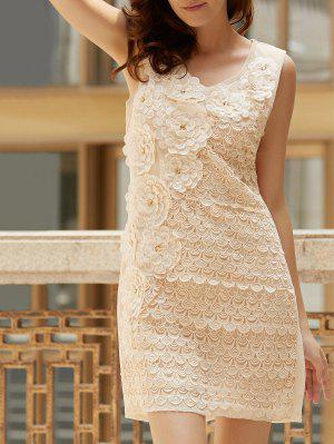 Floral Embroidered Scoop Neck Sleeveless Dress - Apricot