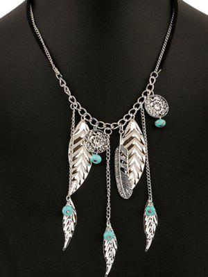 Feathers Bead Leaves Pendant Necklace - Silver