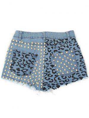 Denim Rivet Agrémentée Poches Shorts - Bleu Glacé S