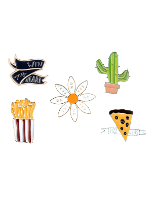 Floral Letter Cheese Cactus Brooch Set
