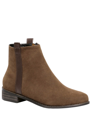 Toe Rounde Bottes Zip Side Suede