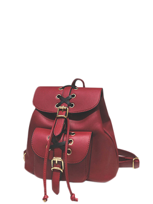 Buckles Eyelet Criss-Cross PU Leather Backpack