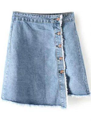 Frayed Hem Button Up Denim Skirt - Light Blue M