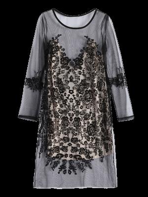 Vestido De Encaje Trasparente De Malla - Negro