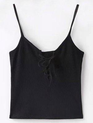 Solid Color Cami Lace Up Tank Top - Black S