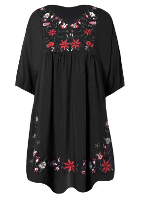 Vestido Tunica Floral Bordado - Negro