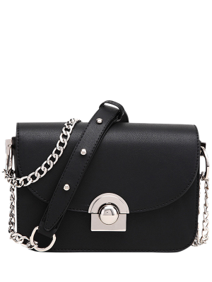Chain Metal Ring Solid Color Crossbody Bag