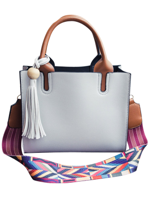 Tassels Color Block Bead Tote Bag